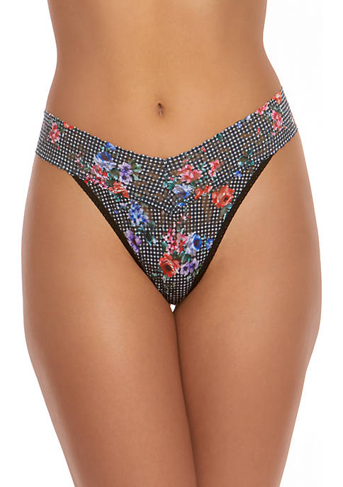 Hanky Panky® Checkerboard and Floral Print Thong