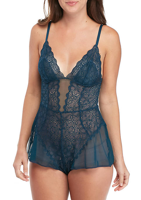 DKNY Superior Lace Romper Teddy