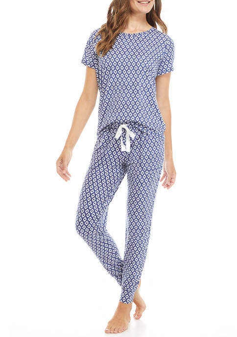 Jaclyn Intimates Geometric Textured Pajama Set