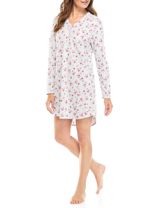 Jaclyn Intimates Long Sleeve Henley Waffle Sleepshirt