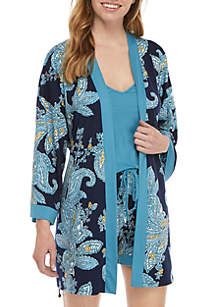 New Directions® 3 Piece Blue Paisley Pajama Short Set