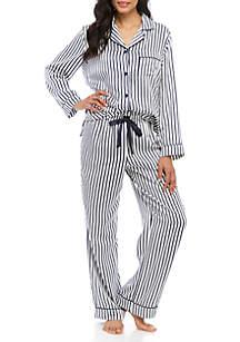 56561fc04b781 ... New Directions® 2 Piece Satin Notch Collar Pajama Set