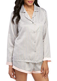 New Directions® 2 Piece Stripe Satin Pajama Shortie Set