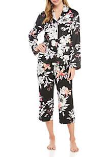9794eafe69 ... New Directions® 2 Piece Floral Satin Notch Collar Pajama Set