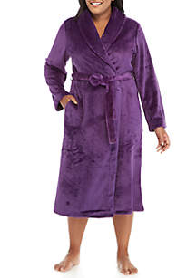 Plus Size Hanging French Fleece Robe