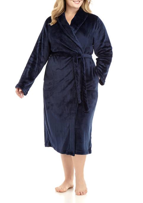 Plus Size French Fleece Wrap Robe