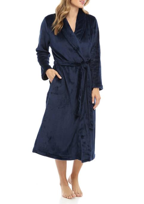 Kim Rogers® Womens French Fleece Wrap Robe