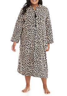 Plus Size Zip Cheetah Robe
