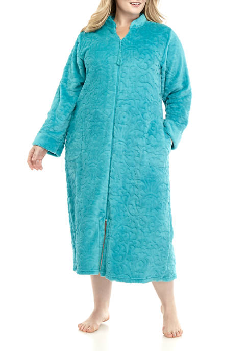 Plus Size Damask Fleece Zip Robe
