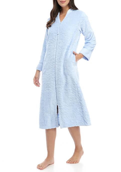Kim Rogers® Womens Damask Fleece Zip Robe