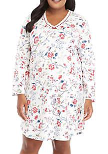 Plus Size Long Sleeve V-Neck Sleep Shirt