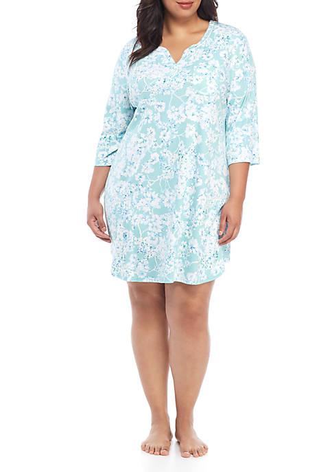Karen Neuburger Plus Size 3/4 Sleeve Night Shirt