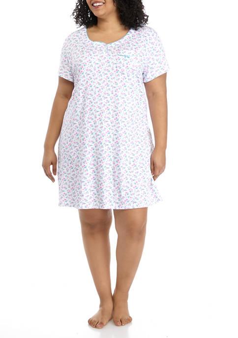 Karen Neuburger Plus Size Short Sleeve Nightshirt