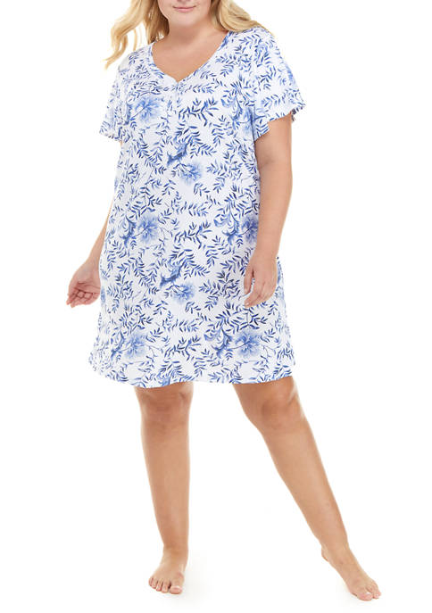 Plus Size Short Sleeve Printed Nightshirt