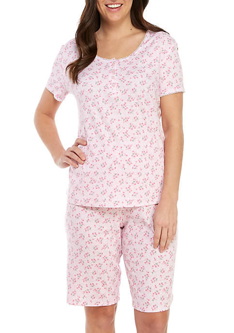 2 Piece Short Sleeve Bermuda Pajama Set