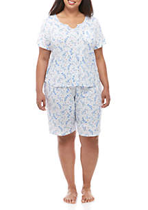 Karen Neuburger Plus Size 2 Piece Split Neck Bermuda Pajama Set