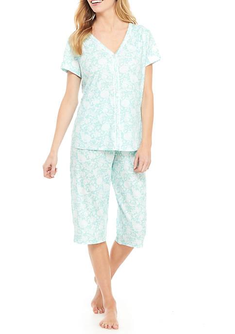 Petite 2 Piece Cardi Capri Pajama Set
