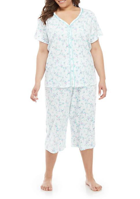 Plus Size Cardi Capri Pajama Set