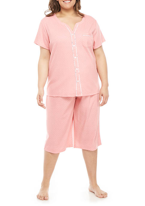 Plus Size Cardigan Capri Pajama Set