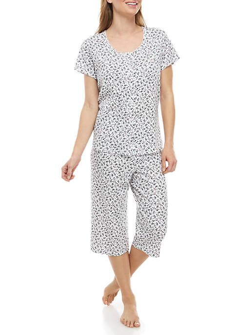 2 Piece Short Sleeve Cardigan Capri Pajama Sleep Set