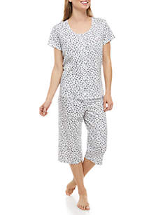 Karen Neuburger 2 Piece Short Sleeve Cardigan Capri Pajama Sleep Set