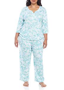 Karen Neuburger Plus Size 3/4 Sleeve Cardigan 2 Piece Long Pajama Set