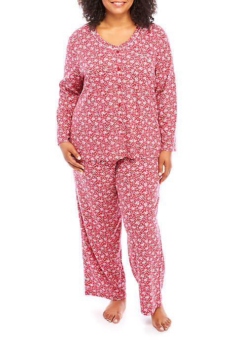Karen Neuburger Plus Size Long Sleeve Pajama Set
