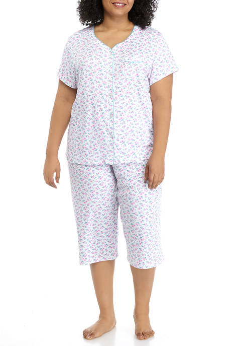 Karen Neuburger Plus Size Short Sleeve Capri Pajama
