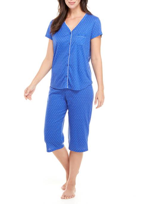 Short Sleeve Shirt and Capri Pajama Pants Set
