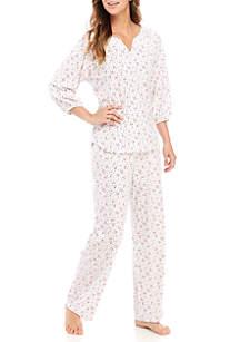 Three-Quarter Raglan Sleeve Pullover Pajama Set