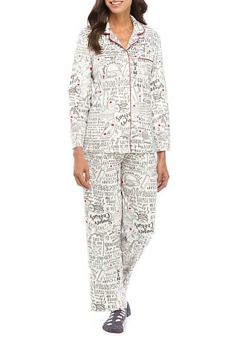 Karen Neuburger Minky Pajama Set with Socks