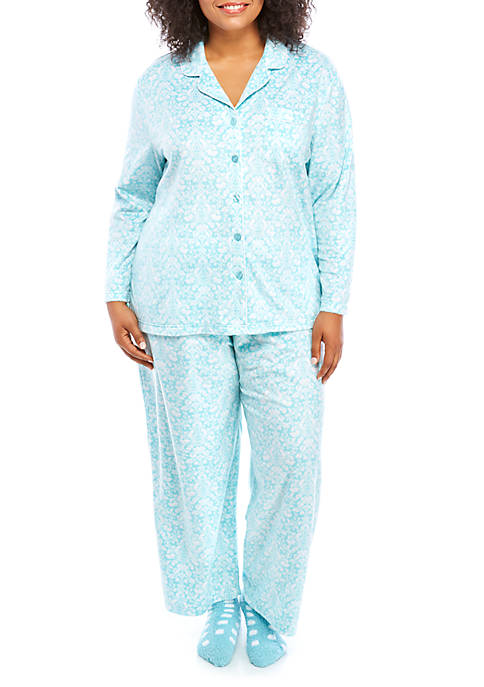 Karen Neuburger Plus Size 3 Piece Printed Pajama