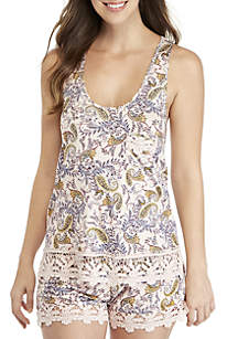 Flowers in Her Hair Tank and Shortie Pajama Set