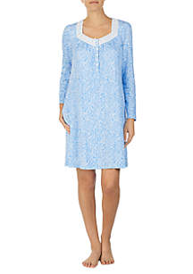 Long Sleeve Cotton Short Gown