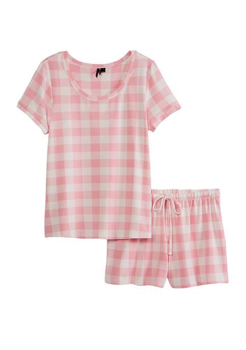 2 Piece Top and Boxer Short Pajama Set