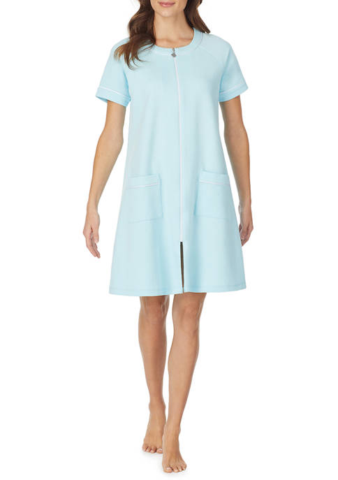 Eileen West Womens Quilted Short Zip Robe