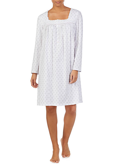 Eileen West Long Sleeve Short Knit Nightgown