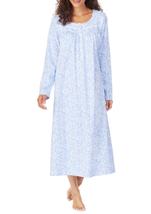 Eileen West Cotton Long Sleeve Long Gown