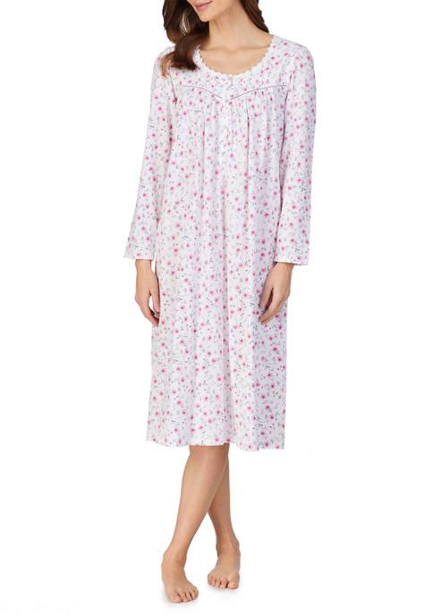 Eileen West Long Sleeve Cotton Knit Long Nightgown