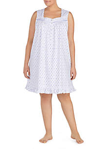 Plus Size Sleeveless Jersey Short Night Gown