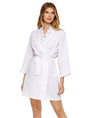 Eileen West Long Sleeve Seersucker Wrap Robe | belk