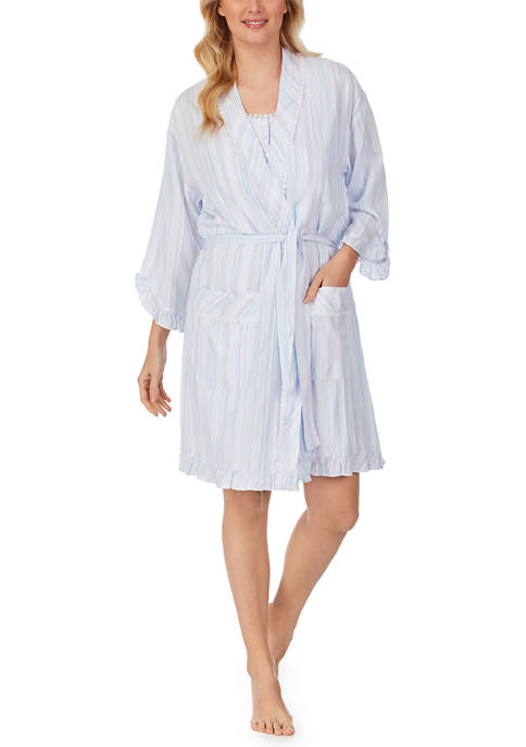 Eileen West 3/4 Sleeve Short Wrap Robe
