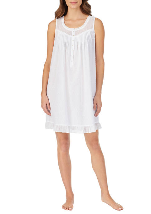 Eileen West Womens Cotton Swiss Dot Chemise with
