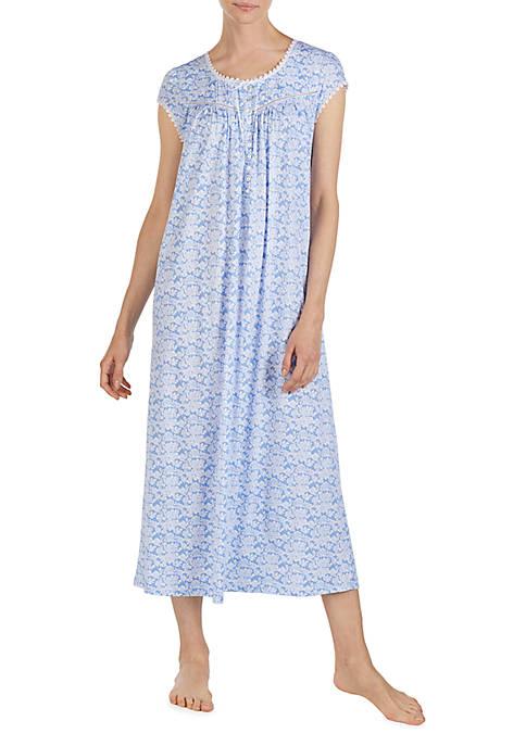 Eileen West Short Sleeve Ballet Neck Long Nightgown