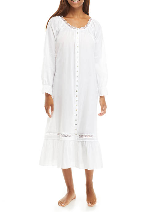 Cotton Woven Button Front Long Sleeve Nightgown