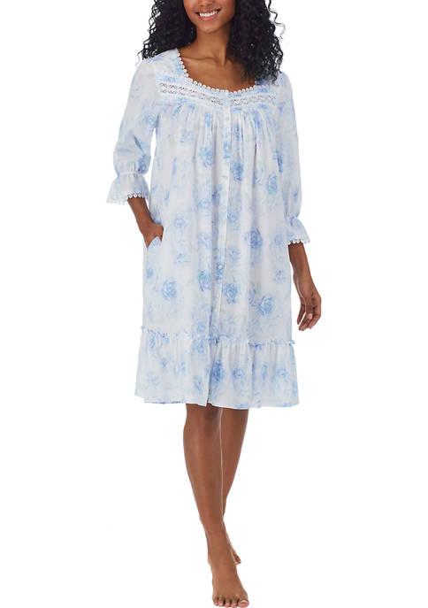 Eileen West Short 3/4 Sleeve Button Front Robe
