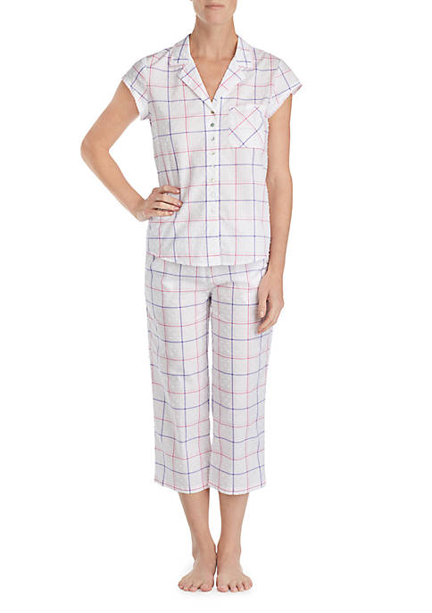 Eileen West 2-Piece Short Sleeve Swiss Dot Notch