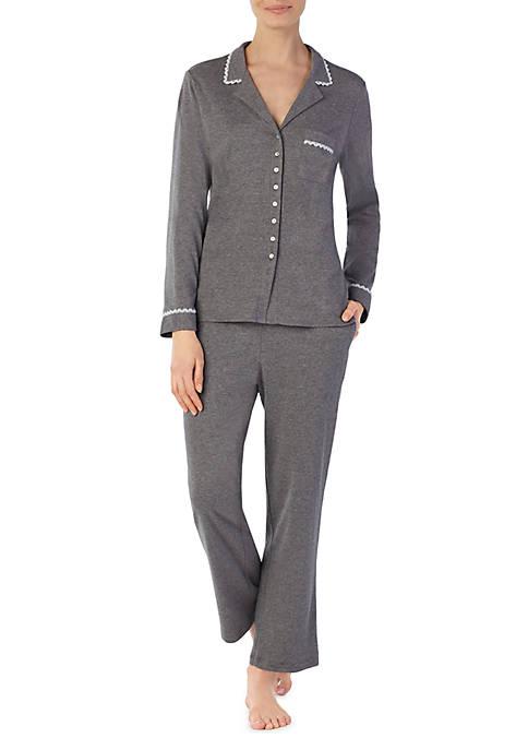 Eileen West Notch Collar Classic Knit Pajamas
