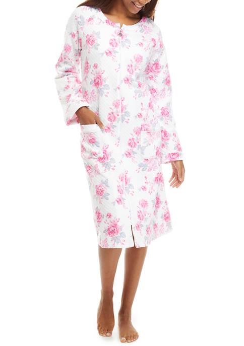 Eileen West Long Sleeve Knit Zip Long Robe