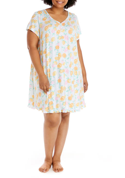 Plus Size Short Sleeve Night Gown